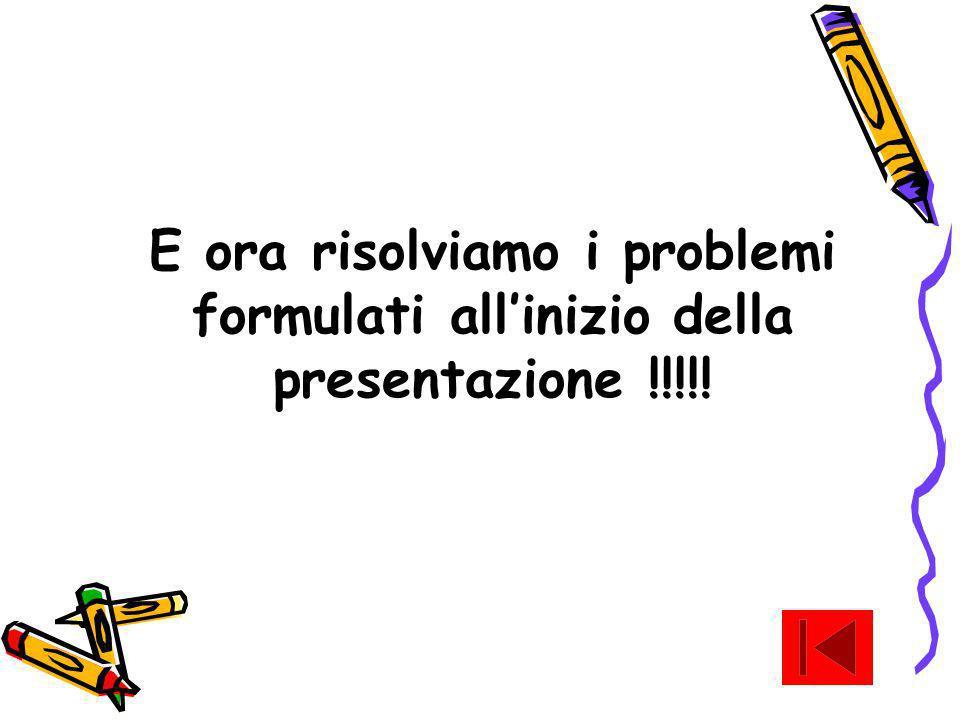E ora risolviamo i problemi formulati allinizio della presentazione !!!!!