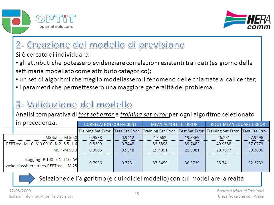 Selezione dellalgoritmo (e quindi del modello) con cui modellare la realtà 17/03/2009 Sistemi Informativi per le Decisioni Boaretti Martini Tassinari Classificazione con Weka 28