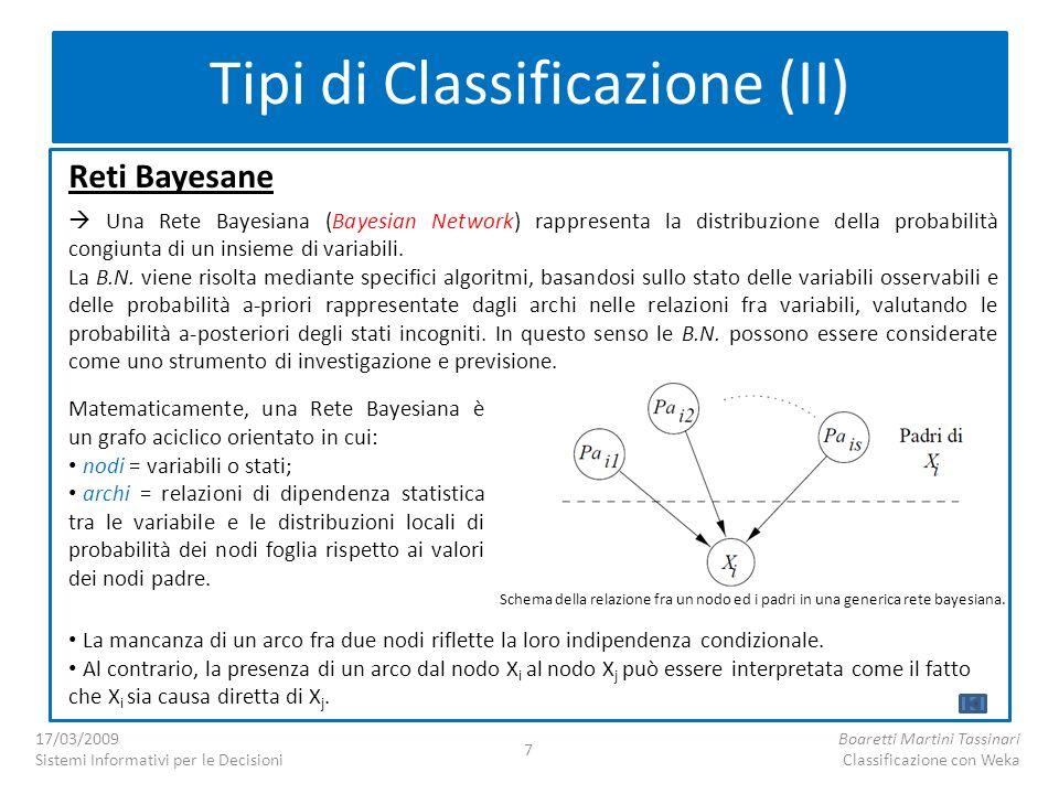 Reti Bayesane Una Rete Bayesiana (Bayesian Network) rappresenta la distribuzione della probabilità congiunta di un insieme di variabili. La B.N. viene
