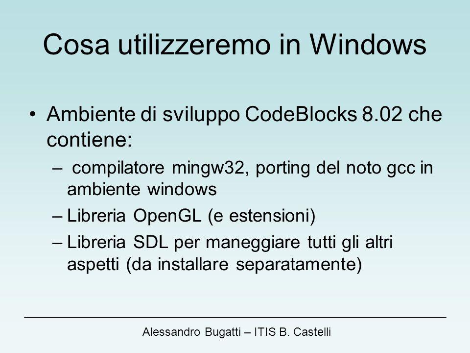 Alessandro Bugatti – ITIS B. Castelli Cosa utilizzeremo in Windows Ambiente di sviluppo CodeBlocks 8.02 che contiene: – compilatore mingw32, porting d