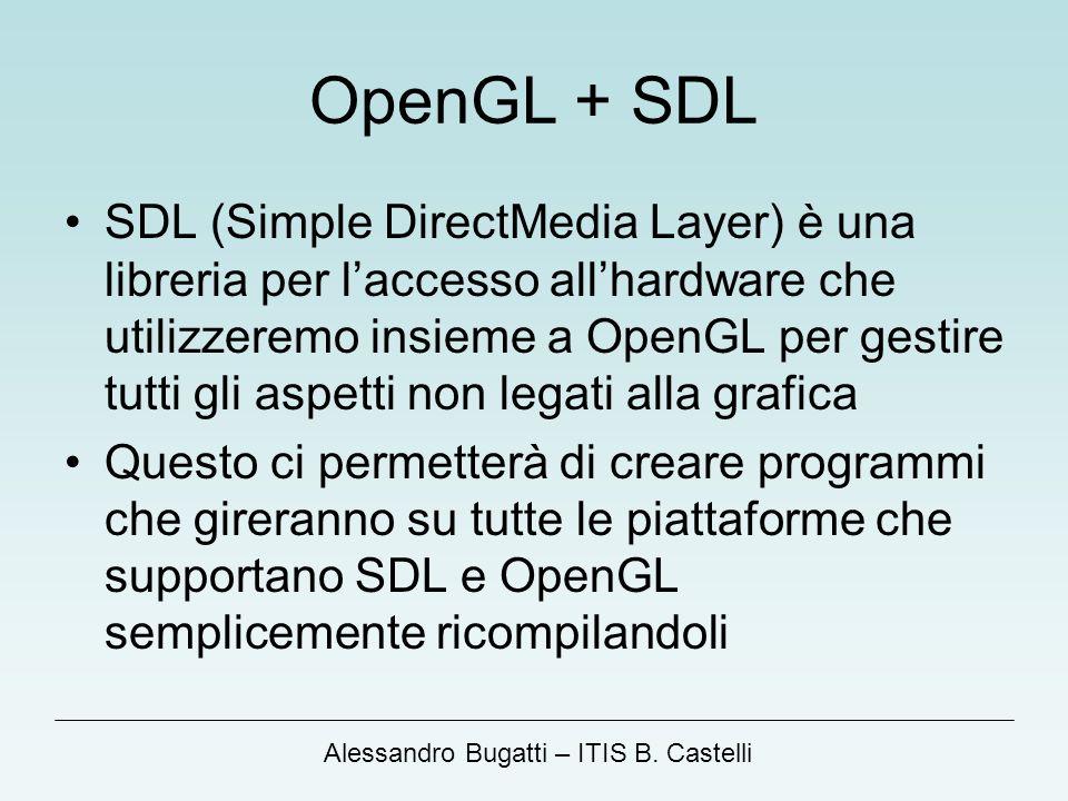 Alessandro Bugatti – ITIS B. Castelli OpenGL + SDL SDL (Simple DirectMedia Layer) è una libreria per laccesso allhardware che utilizzeremo insieme a O