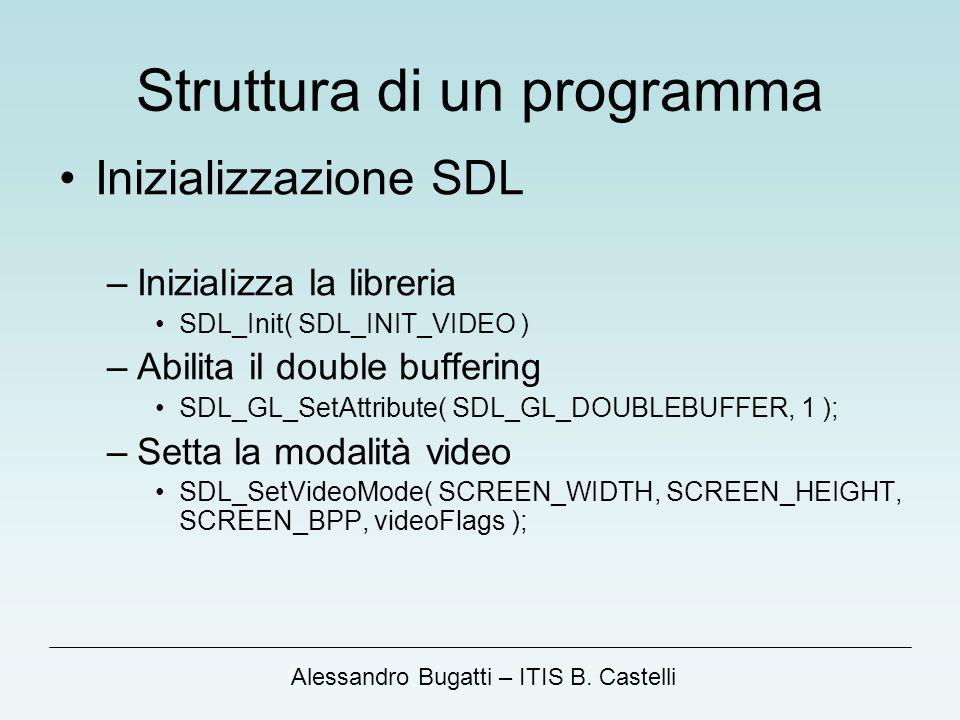 Alessandro Bugatti – ITIS B. Castelli Struttura di un programma Inizializzazione SDL –Inizializza la libreria SDL_Init( SDL_INIT_VIDEO ) –Abilita il d