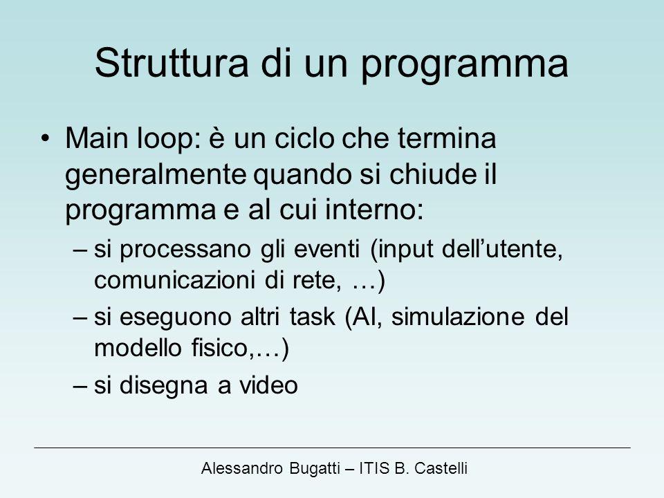 Alessandro Bugatti – ITIS B. Castelli Struttura di un programma Main loop: è un ciclo che termina generalmente quando si chiude il programma e al cui