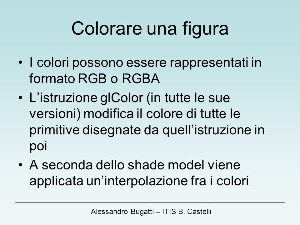 Alessandro Bugatti – ITIS B. Castelli Colorare una figura I colori possono essere rappresentati in formato RGB o RGBA Listruzione glColor (in tutte le