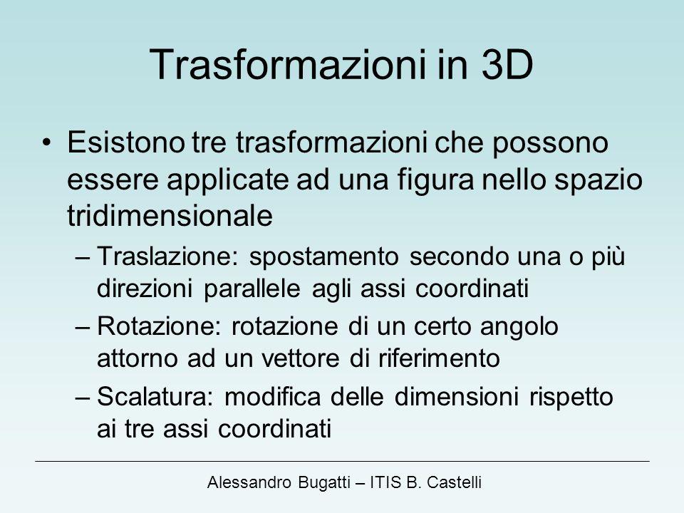 Alessandro Bugatti – ITIS B. Castelli Trasformazioni in 3D Esistono tre trasformazioni che possono essere applicate ad una figura nello spazio tridime