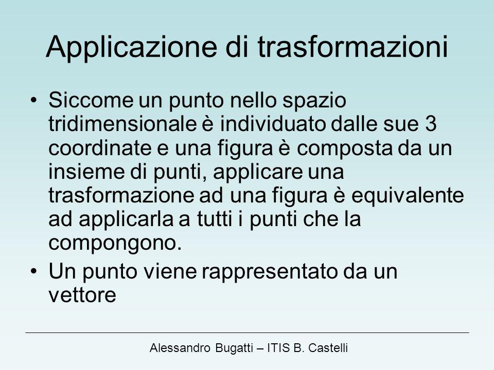 Alessandro Bugatti – ITIS B. Castelli Applicazione di trasformazioni Siccome un punto nello spazio tridimensionale è individuato dalle sue 3 coordinat