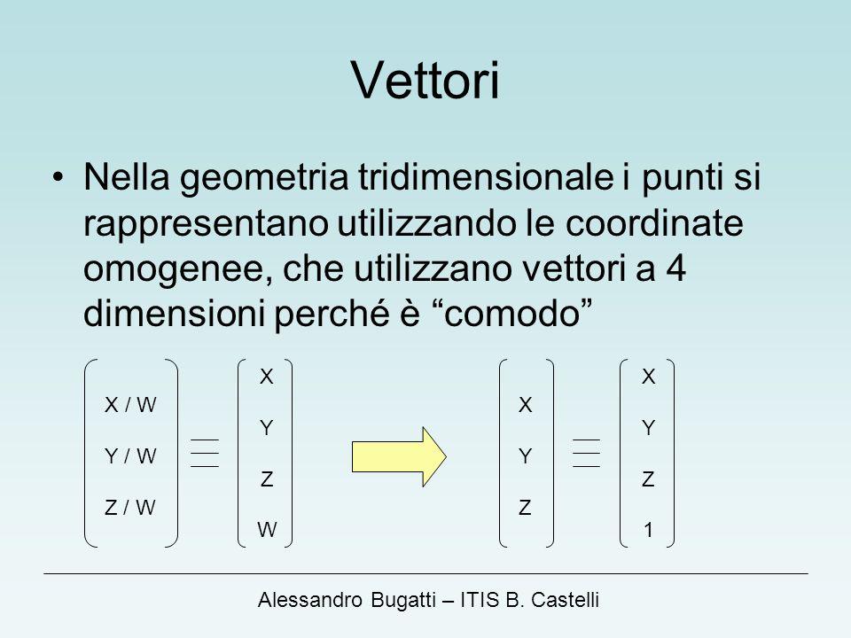 Alessandro Bugatti – ITIS B. Castelli Vettori Nella geometria tridimensionale i punti si rappresentano utilizzando le coordinate omogenee, che utilizz