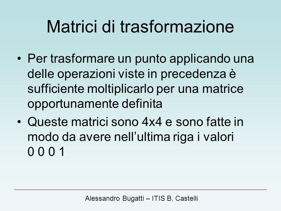 Alessandro Bugatti – ITIS B. Castelli Matrici di trasformazione Per trasformare un punto applicando una delle operazioni viste in precedenza è suffici