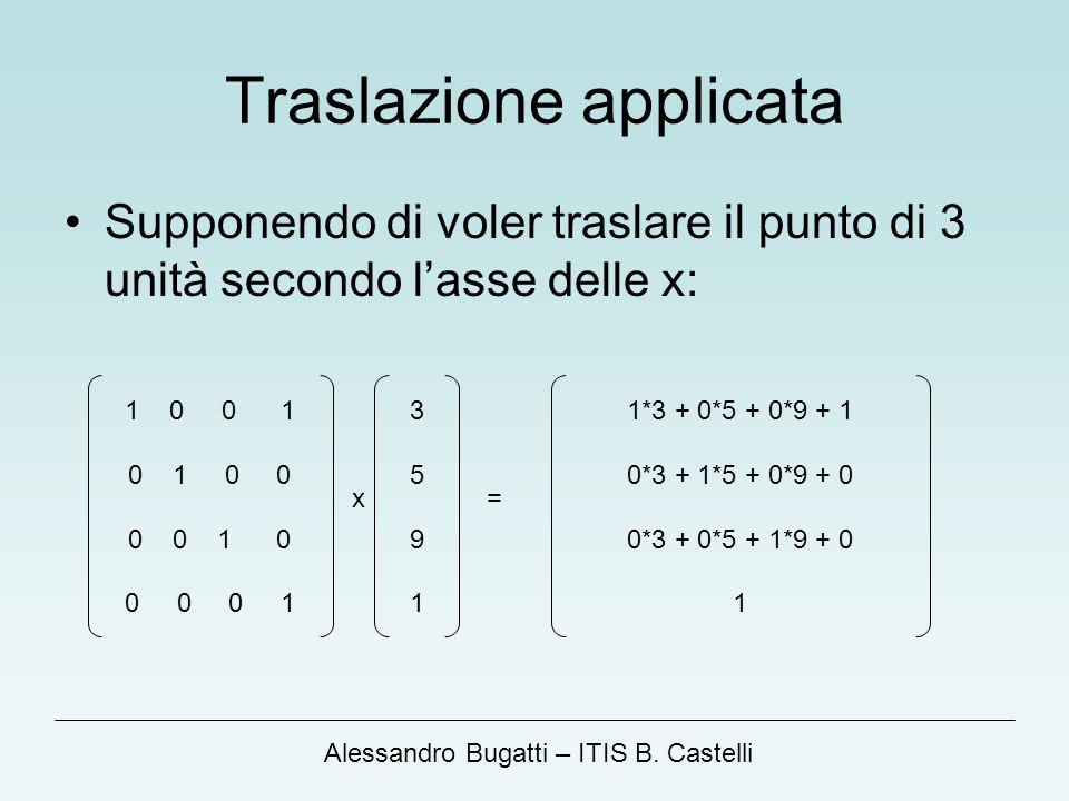 Alessandro Bugatti – ITIS B. Castelli Traslazione applicata Supponendo di voler traslare il punto di 3 unità secondo lasse delle x: 1 0 0 1 0 1 0 0 0