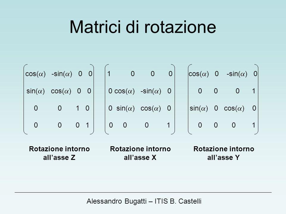 Alessandro Bugatti – ITIS B. Castelli Matrici di rotazione cos( ) -sin( ) 0 0 sin( ) cos( ) 0 0 0 0 1 0 0 0 0 1 1 0 0 0 0 cos( ) -sin( ) 0 0 sin( ) co