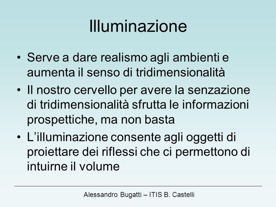 Alessandro Bugatti – ITIS B. Castelli Illuminazione Serve a dare realismo agli ambienti e aumenta il senso di tridimensionalità Il nostro cervello per