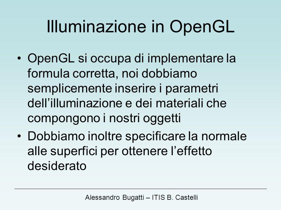 Alessandro Bugatti – ITIS B. Castelli Illuminazione in OpenGL OpenGL si occupa di implementare la formula corretta, noi dobbiamo semplicemente inserir