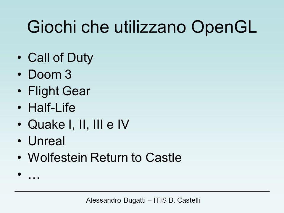 Alessandro Bugatti – ITIS B. Castelli Giochi che utilizzano OpenGL Call of Duty Doom 3 Flight Gear Half-Life Quake I, II, III e IV Unreal Wolfestein R