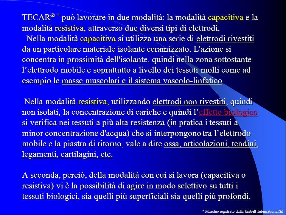 LIVELLOMODALITA DI LAVORO capacitivaresistiva Basso (atermico) biostimolazione a livello cellulare con aumento delle trasformazioni energetiche cellulari (ADP/ATP); aumento del consumo di ossigeno negli strati più superficiali dei tessuti (riattivazione del microcircolo) Aumento della concentrazione delle cariche nei tessuti a maggior resistenza con leggero aumento della temperatura nella zona maggiormente resistiva Medio (moderata mente termico) Aumento della biostimolazione per aumento delle trasformazioni energetiche endocellulari, aumento del consumo di ossigeno e di conseguenza del flusso ematico e linfatico (aumento della vasodilatazione).