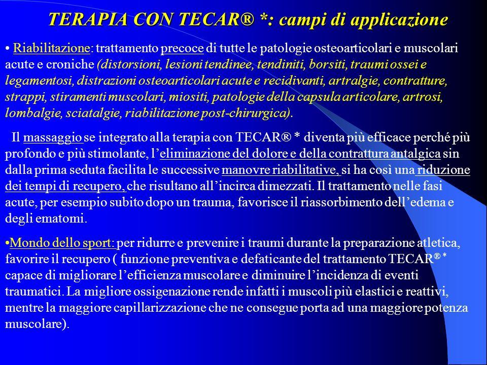 TERAPIA CON TECAR® *: campi di applicazione Riabilitazione: trattamento precoce di tutte le patologie osteoarticolari e muscolari acute e croniche (di