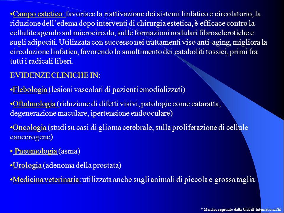 Campo estetico: favorisce la riattivazione dei sistemi linfatico e circolatorio, la riduzione delledema dopo interventi di chirurgia estetica, è effic