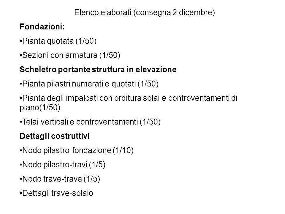 Elenco elaborati (consegna 2 dicembre) Fondazioni: Pianta quotata (1/50) Sezioni con armatura (1/50) Scheletro portante struttura in elevazione Pianta pilastri numerati e quotati (1/50) Pianta degli impalcati con orditura solai e controventamenti di piano(1/50) Telai verticali e controventamenti (1/50) Dettagli costruttivi Nodo pilastro-fondazione (1/10) Nodo pilastro-travi (1/5) Nodo trave-trave (1/5) Dettagli trave-solaio