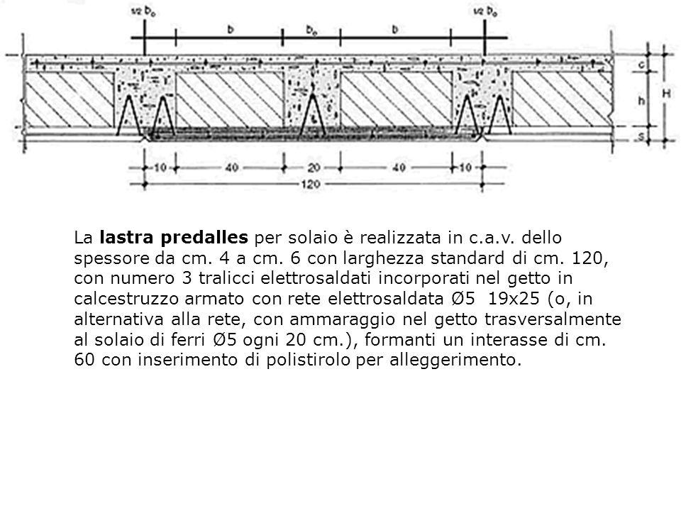 La lastra predalles per solaio è realizzata in c.a.v.