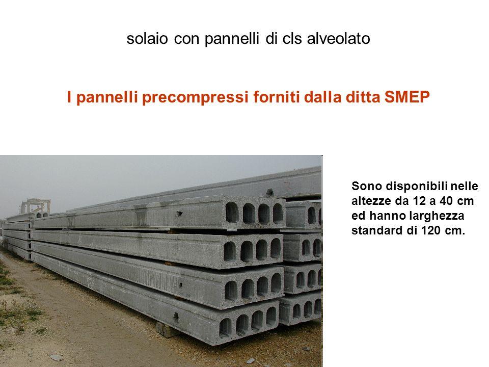 solaio con pannelli di cls alveolato I pannelli precompressi forniti dalla ditta SMEP Sono disponibili nelle altezze da 12 a 40 cm ed hanno larghezza standard di 120 cm.