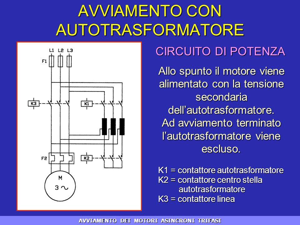 Allo spunto il motore viene alimentato con la tensione secondaria dellautotrasformatore. Ad avviamento terminato lautotrasformatore viene escluso. CIR