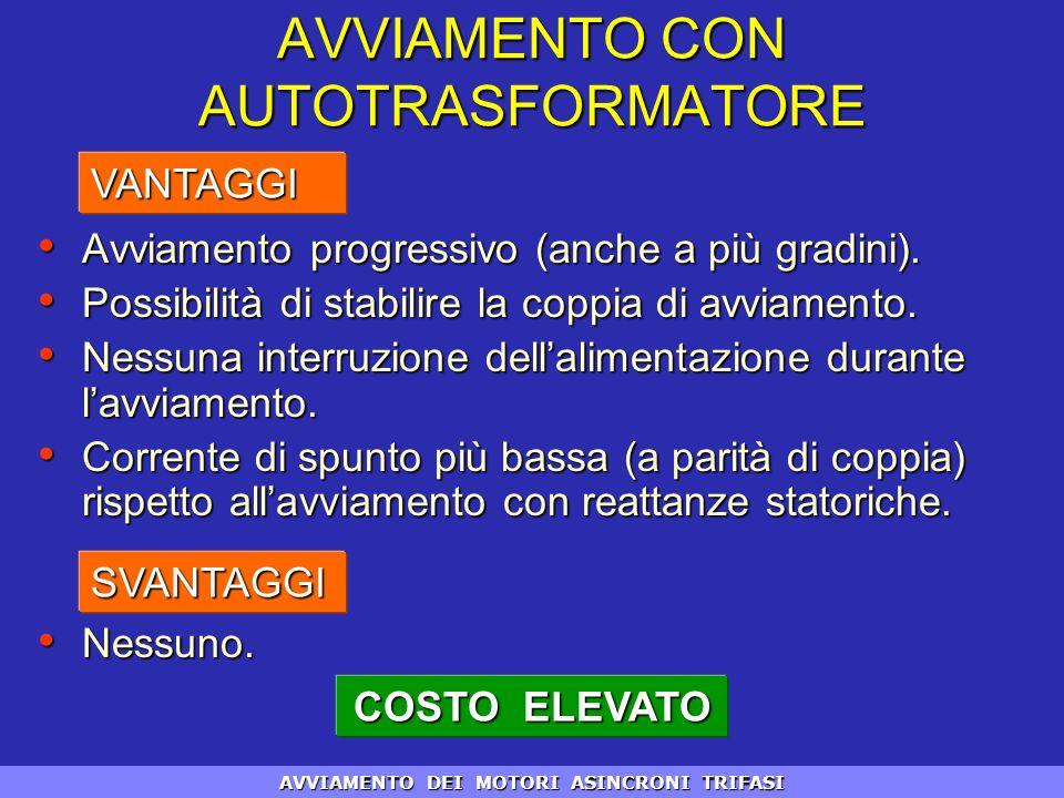 COSTO ELEVATO AVVIAMENTO CON AUTOTRASFORMATORE Avviamento progressivo (anche a più gradini). Avviamento progressivo (anche a più gradini). Possibilità