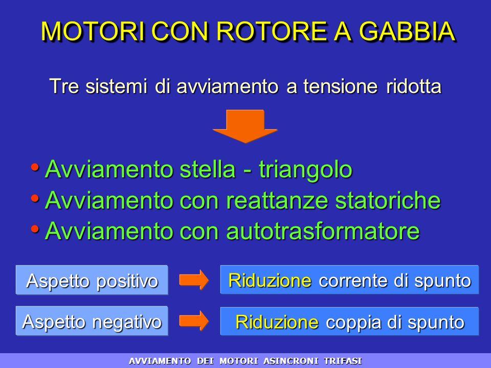 MOTORI CON ROTORE A GABBIA Tre sistemi di avviamento a tensione ridotta Avviamento stella - triangolo Avviamento stella - triangolo Avviamento con rea