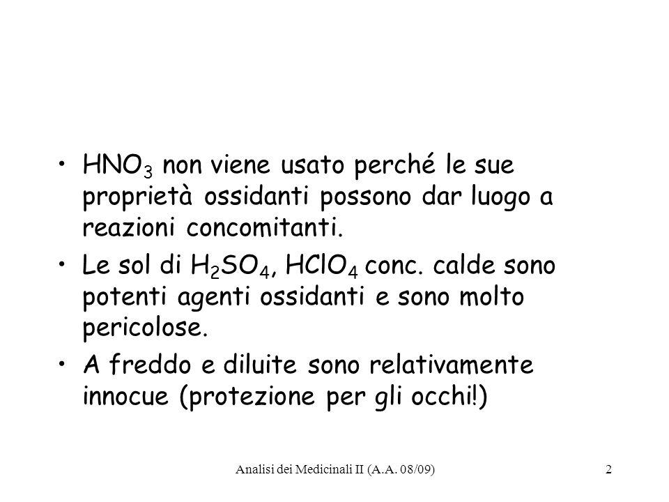 Analisi dei Medicinali II (A.A. 08/09)13 Lettura buretta: 14,50 mL
