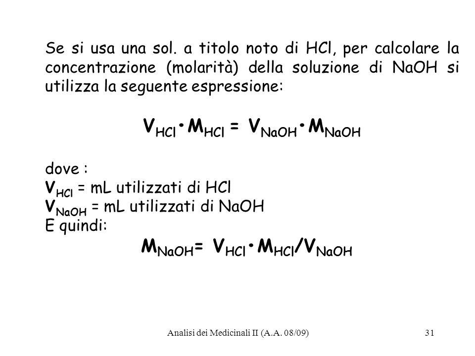 Analisi dei Medicinali II (A.A.08/09)31 Se si usa una sol.