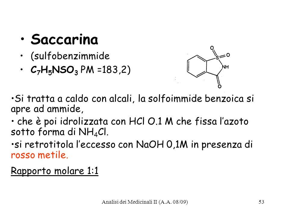 Analisi dei Medicinali II (A.A.