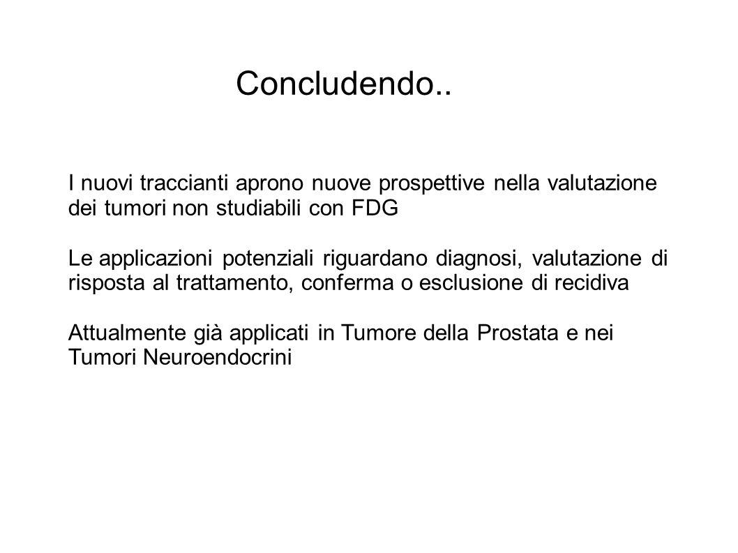 Concludendo.. I nuovi traccianti aprono nuove prospettive nella valutazione dei tumori non studiabili con FDG Le applicazioni potenziali riguardano di