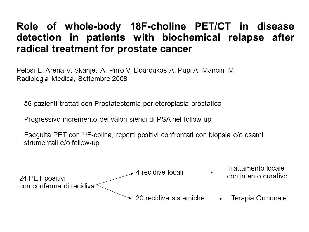 Role of whole-body 18F-choline PET/CT in disease detection in patients with biochemical relapse after radical treatment for prostate cancer Pelosi E, Arena V, Skanjeti A, Pirro V, Douroukas A, Pupi A, Mancini M Radiologia Medica, Settembre 2008 56 pazienti trattati con Prostatectomia per eteroplasia prostatica Progressivo incremento dei valori sierici di PSA nel follow-up Eseguita PET con 18 F-colina, reperti positivi confrontati con biopsia e/o esami strumentali e/o follow-up 24 PET positivi con conferma di recidiva 4 recidive locali Trattamento locale con intento curativo 20 recidive sistemicheTerapia Ormonale