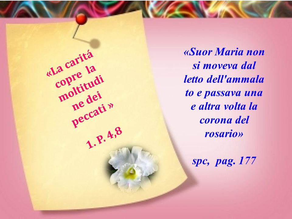 «A Macas si verificarono alcuni casi di morbillo, Suor Maria non riposava ne di giorno, ne di notte» spc, pag.171 «Beati i misericordiosi, perché trov
