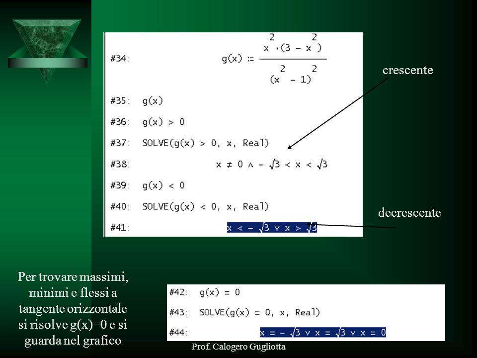 Prof. Calogero Gugliotta crescente decrescente Per trovare massimi, minimi e flessi a tangente orizzontale si risolve g(x)=0 e si guarda nel grafico