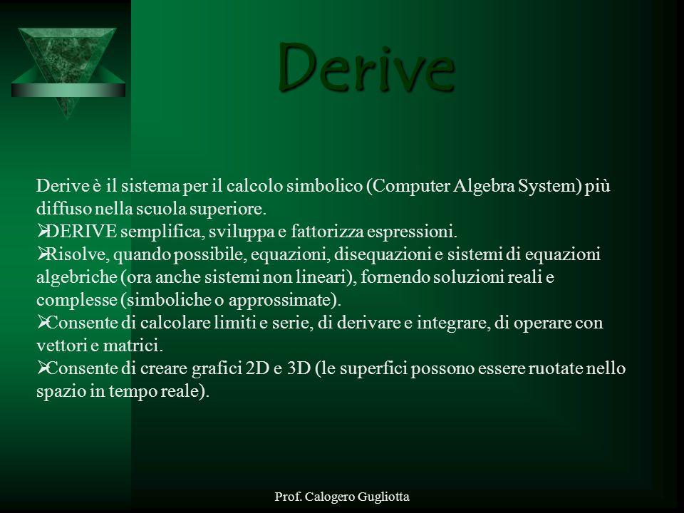 Derive è il sistema per il calcolo simbolico (Computer Algebra System) più diffuso nella scuola superiore. DERIVE semplifica, sviluppa e fattorizza es
