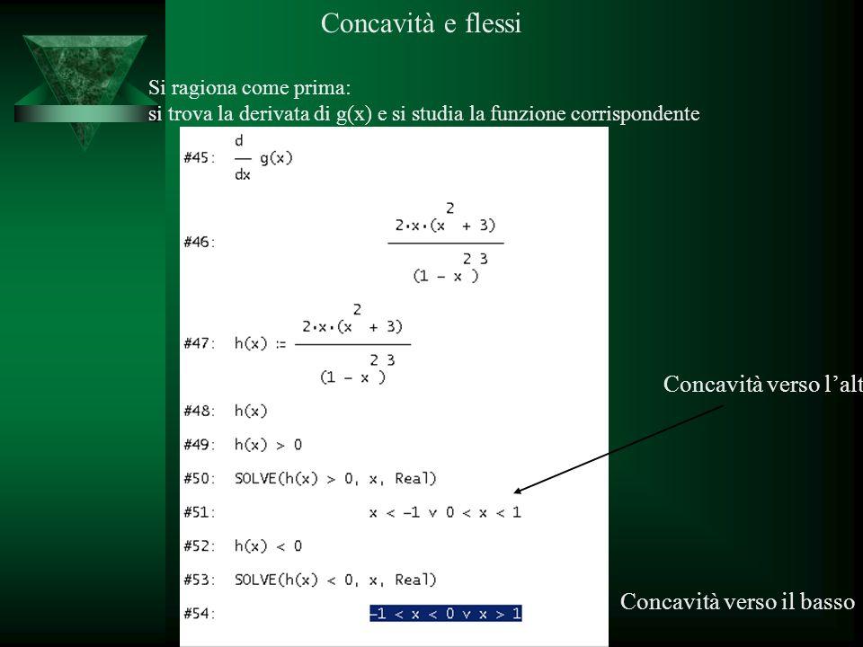 Prof. Calogero Gugliotta Concavità e flessi Si ragiona come prima: si trova la derivata di g(x) e si studia la funzione corrispondente Concavità verso