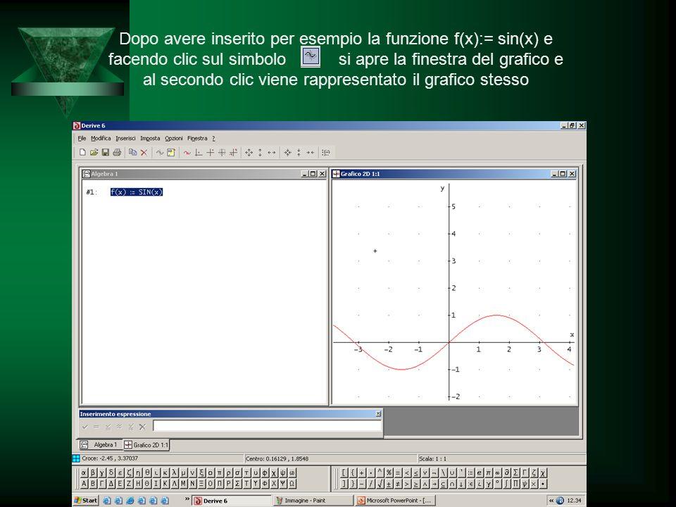 Prof. Calogero Gugliotta Dopo avere inserito per esempio la funzione f(x):= sin(x) e facendo clic sul simbolo si apre la finestra del grafico e al sec
