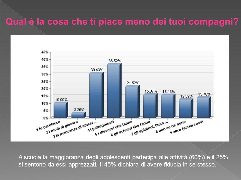 A scuola la maggioranza degli adolescenti partecipa alle attività (60%) e il 25% si sentono da essi apprezzati. Il 45% dichiara di avere fiducia in se
