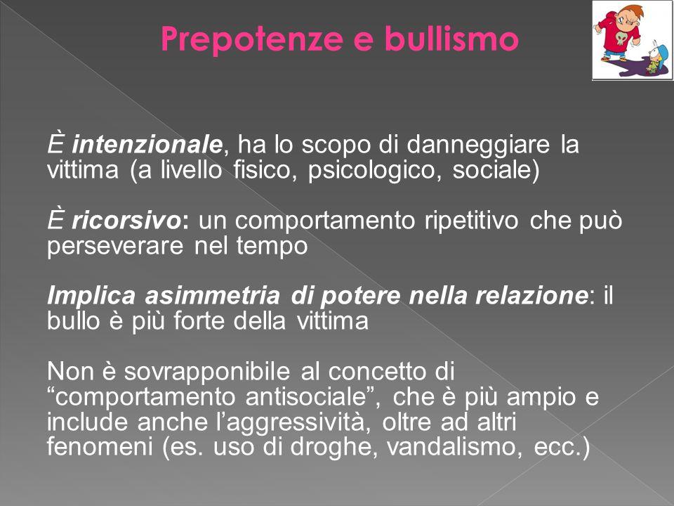 Prepotenze e bullismo È intenzionale, ha lo scopo di danneggiare la vittima (a livello fisico, psicologico, sociale) È ricorsivo: un comportamento rip