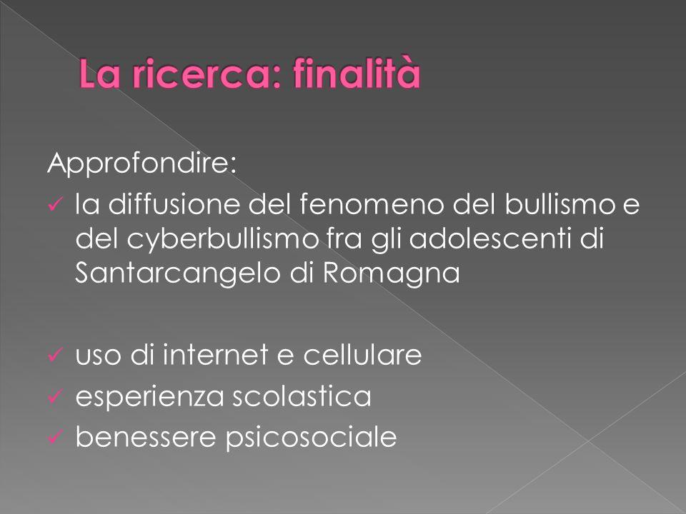 Approfondire: la diffusione del fenomeno del bullismo e del cyberbullismo fra gli adolescenti di Santarcangelo di Romagna uso di internet e cellulare esperienza scolastica benessere psicosociale