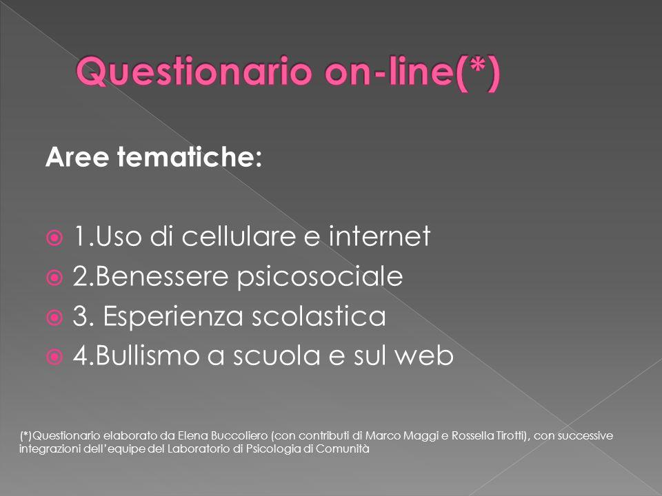 Aree tematiche: 1.Uso di cellulare e internet 2.Benessere psicosociale 3. Esperienza scolastica 4.Bullismo a scuola e sul web (*)Questionario elaborat