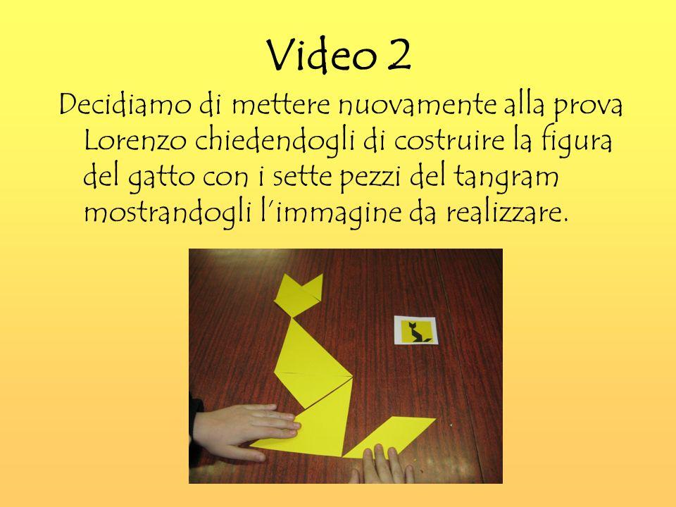 Video 2 Decidiamo di mettere nuovamente alla prova Lorenzo chiedendogli di costruire la figura del gatto con i sette pezzi del tangram mostrandogli limmagine da realizzare.