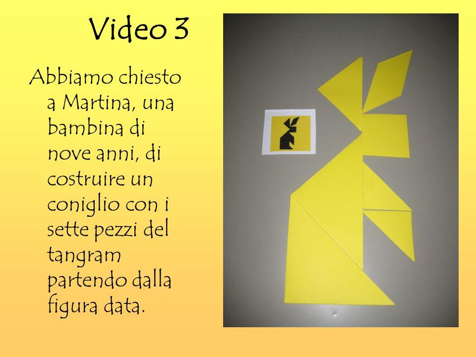 Video 3 Abbiamo chiesto a Martina, una bambina di nove anni, di costruire un coniglio con i sette pezzi del tangram partendo dalla figura data.