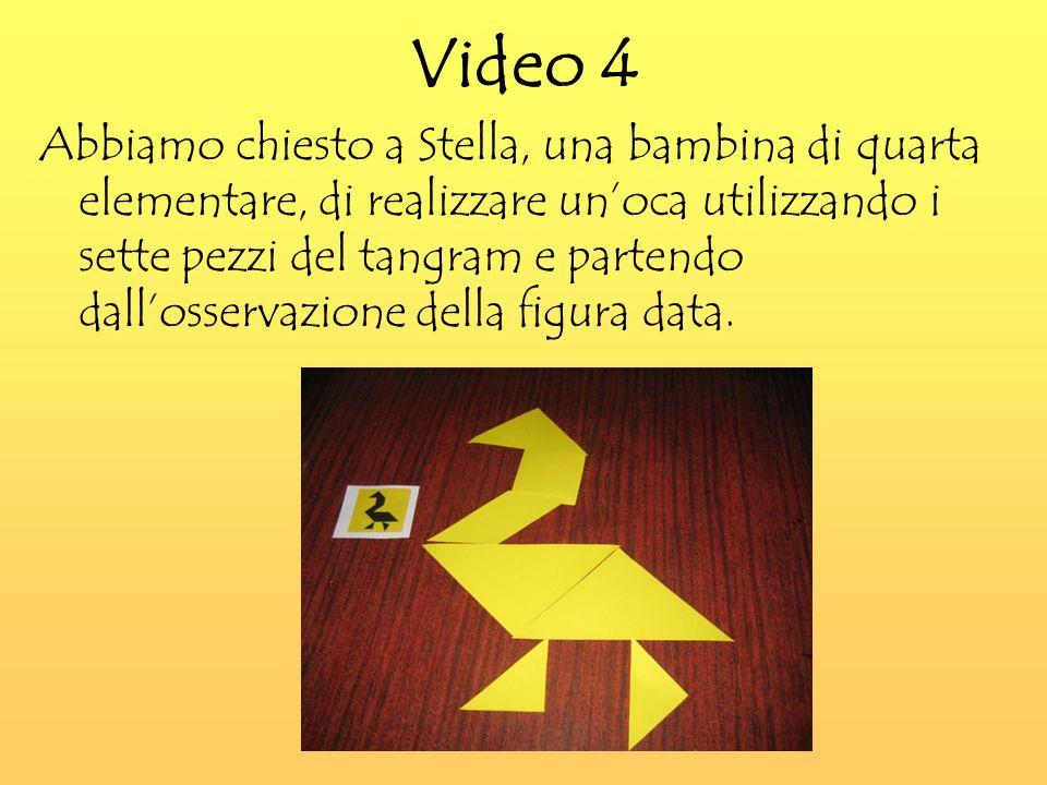 Video 4 Abbiamo chiesto a Stella, una bambina di quarta elementare, di realizzare unoca utilizzando i sette pezzi del tangram e partendo dallosservazione della figura data.