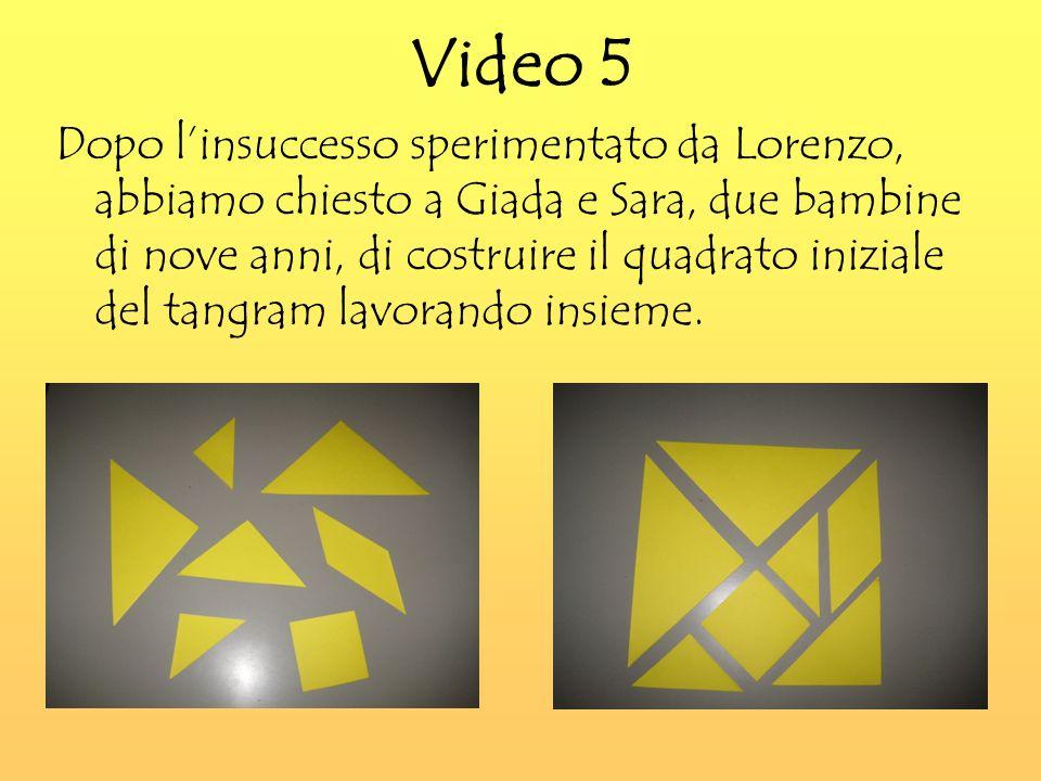 Video 5 Dopo linsuccesso sperimentato da Lorenzo, abbiamo chiesto a Giada e Sara, due bambine di nove anni, di costruire il quadrato iniziale del tangram lavorando insieme.