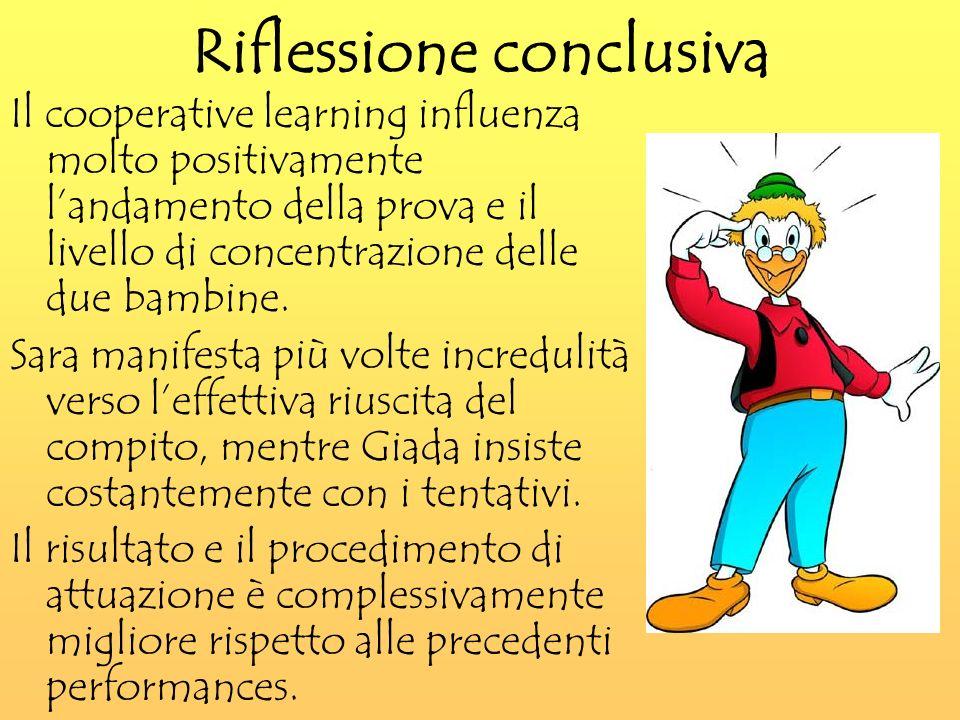 Riflessione conclusiva Il cooperative learning influenza molto positivamente landamento della prova e il livello di concentrazione delle due bambine.