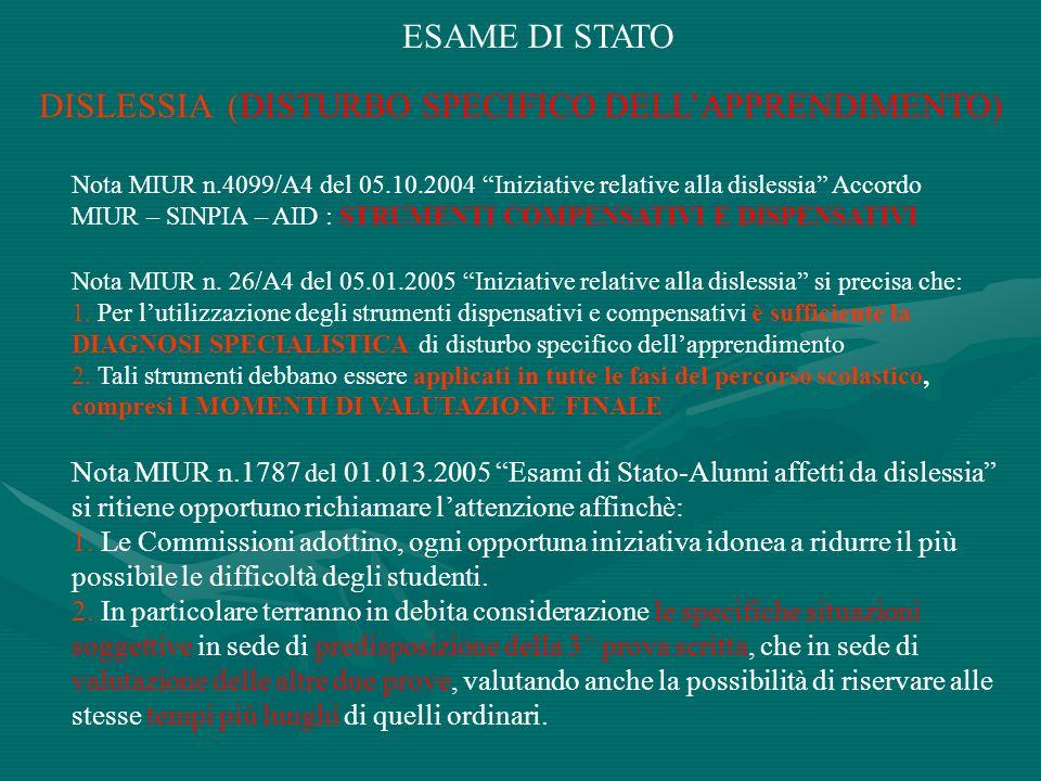 ESAME DI STATO DISLESSIA (DISTURBO SPECIFICO DELLAPPRENDIMENTO) Nota MIUR n.4099/A4 del 05.10.2004 Iniziative relative alla dislessia Accordo MIUR – S