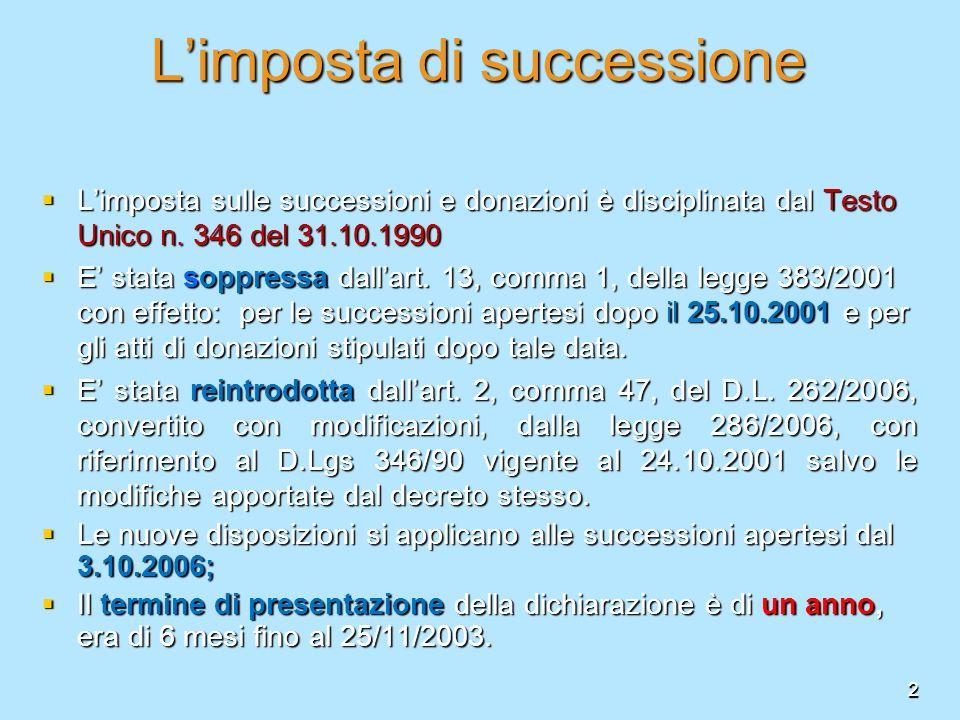 2 Limposta di successione Limposta sulle successioni e donazioni è disciplinata dal Testo Unico n. 346 del 31.10.1990 Limposta sulle successioni e don