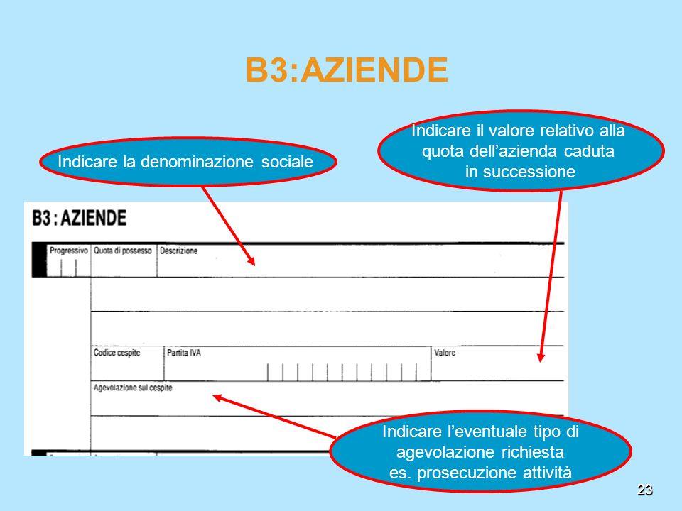 23 Indicare leventuale tipo di agevolazione richiesta es. prosecuzione attività B3:AZIENDE Indicare il valore relativo alla quota dellazienda caduta i