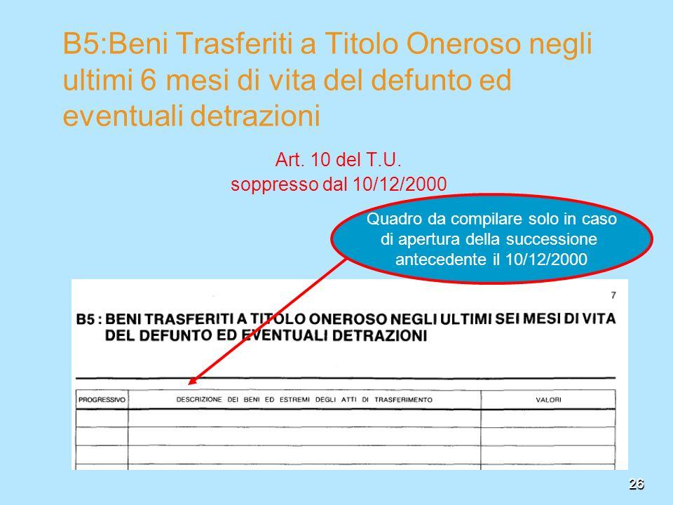 26 B5:Beni Trasferiti a Titolo Oneroso negli ultimi 6 mesi di vita del defunto ed eventuali detrazioni Art. 10 del T.U. soppresso dal 10/12/2000 Quadr