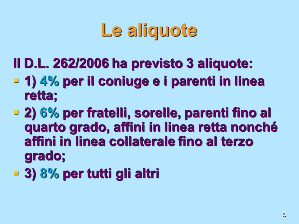 3 Le aliquote Il D.L. 262/2006 ha previsto 3 aliquote: 1) 4% per il coniuge e i parenti in linea retta; 1) 4% per il coniuge e i parenti in linea rett